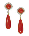 Estate Jewelry:Earrings, Coral, Diamond, Gold Earrings. Each dangling earring featureselongated teardrop-shaped coral measuring approximately 33.0...