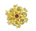 Estate Jewelry:Brooches - Pins, Ruby, Gold Brooch, Tiffany & Co.. The three-dimensional flowerbrooch features round-cut rubies weighing a total of approx...
