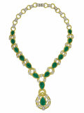 Estate Jewelry:Necklaces, Emerald, Diamond, Gold Necklace, Giovane. The Y-style necklacefeatures graduated pear-shaped emerald cabochons ranging in...