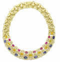 Estate Jewelry:Necklaces, Multi-Color Sapphire, Diamond, Gold Necklace. The fancy link necklace features oval-shaped pink sapphires measuring 7.00 x...