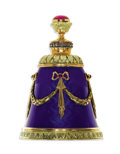 Estate Jewelry:Other , Red Stone, Diamond, Ruby, Enamel, Gold, Silver Perfume Bottle, Russian. The bell-shaped perfume bottle is crafted in 14k t...