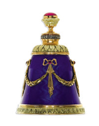 Red Stone, Diamond, Ruby, Enamel, Gold, Silver Perfume Bottle, Russian  The bell-shaped perfume bottle is crafted in 14k...
