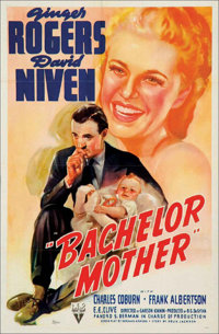 "Bachelor Mother (RKO, 1939). One Sheet (27"" X 41"") This beautiful RKO poster is from the delightful screwball..."