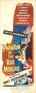 """Movie Posters:Horror, Phantom of the Rue Morgue (Warner Brothers, 1954). Insert (14"""" X 36"""") This 3D horror film was a remake of the Bela Lugosi cl..."""