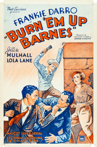 "Burn 'Em Up Barnes (Mascot, R- Late 1930s). Stock One Sheet (27"" X 41"")"