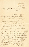 Autographs:Authors, Edward Bulwer-Lytton (1803-1873, British novelist), Autograph Letter Signed. February 2, 1866. One page plus one integral le...