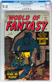 World of Fantasy #9 White Mountain pedigree (Atlas, 1957) CGC VF/NM 9.0 Off-white to white pages