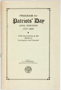 Books:Americana & American History, [Americana]. Program for Patriots' Day. April Nineteen 1925.Commemorating the 150th anniversary of the Battle of Le...