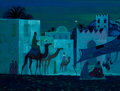Animation Art:Production Drawing, The Story of God Three Wise Men Concept Painting by Ralph Hulett (Fred Rice Productions, 1964-65)....