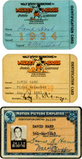 Animation Art:Photograph, David Hand Disney ID Cards and Inter-Office Memo Group (WaltDisney, 1931-42).... (Total: 4 Items)