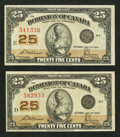 Canadian Currency: , DC-24c 25¢ 1923. Two Examples. ... (Total: 2 notes)