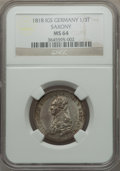 German States:Saxony, German States: Saxony. Friedrich August I 1/3 Taler 1818-IGS MS64 NGC,...