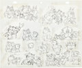 animation art:Model Sheet, Fritz the Cat Tub Scene Model Sheet Art (Ralph Bakshi,1972)....