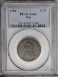 Colonials: , 1766 1/2P Pitt Halfpenny XF40 PCGS. Breen-251. The obverse of this attractive mid-grade representative is a glossy medium b...