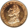 Colonials: , 1783 1C Washington & Independence Cent, Draped Bust, Copper Restrike, Engrailed Edge PR65 Red and Brown PCGS. Baker-3. Rula...