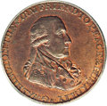 Colonials: , 1795 1/2P Washington Grate Halfpenny, Large Buttons, Reeded Edge MS65 Red and Brown PCGS. Baker-29AA. Glowing orange luster...
