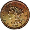 Proof Braided Hair Half Cents: , 1856 1/2 C PR63 Red and Brown PCGS. B-1, R.7 as a proof. The raiseddie lump (as made) on the I in UNITED distinguishes thi...