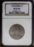 Large Cents: , 1804 1C Restrike MS64 Brown NGC. A notorious issue that was struck circa 1860 with discarded and muled Mint dies. The rarit...