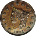 Proof Large Cents: , 1821 1C PR61 Brown NGC. N-1, High R.6 as a Proof. Boldly struckwith pinpoint definition over the major design elements and...