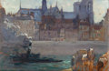 Fine Art - Painting, American:Modern  (1900 1949)  , COLIN CAMPBELL COOPER (American, 1856-1937). Notre Dame from theSeine, Paris. Oil on panel. 10-5/8 x 16-1/8 inches (27....