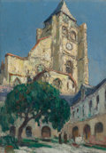 Fine Art - Painting, American:Modern  (1900 1949)  , JULES PAGES (American, 1867-1946). St. Jacques Church, Treport,France. Oil on canvas laid on board. 12-7/8 x 9-1/4 inch...
