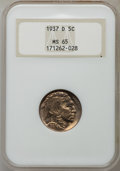 Buffalo Nickels: , 1937-D 5C MS65 NGC. NGC Census: (1372/2023). PCGS Population(3741/1797). Mintage: 17,826,000. Numismedia Wsl. Price for pr...