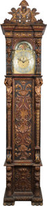 Paintings, A VICTORIAN CARVED MAHOGANY AND PARCEL GILT TALL CASE CLOCK, J.J. Elliott, London, England, circa 1890. Marks: ELLIOTT, LO...