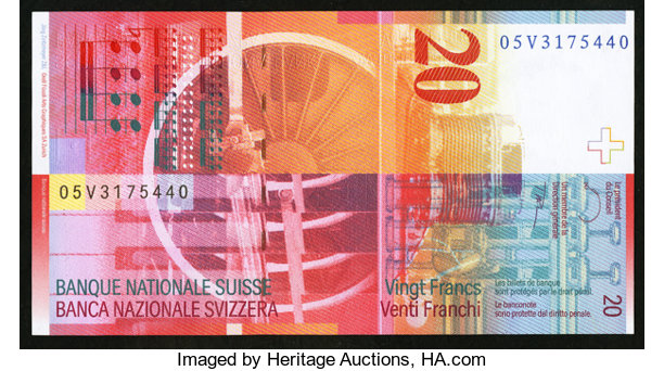 World Currency Switzerland Schweizerische Nationalbank 20 Francs 2005 Pick 69d