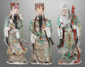 Asian:Chinese, THREE CHINESE PAINTED PORCELAIN FIGURES OF DEITIES. 28 inches high(71.1 cm). ... (Total: 3 Items)