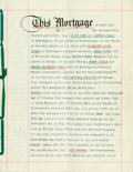 Autographs:Celebrities, Mortgage, Dated 1939. Three pages, types. Signed by all applicableparties. Ribbon-bound. Folded, with one vertical crease. ...