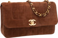 "Luxury Accessories:Bags, Chanel Brown Suede Quilted Small Single Flap Bag with Gold Hardware. Very Good Condition. 9"" Width x 2.5"" Depth x 5.5..."