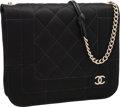 "Luxury Accessories:Bags, Chanel Black Quilted Satin Evening Bag with Brushed Gold Hardware.Very Good to Excellent Condition. 7.5"" Width x 6""H..."