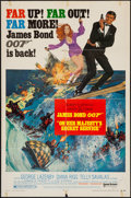 "Movie Posters:James Bond, On Her Majesty's Secret Service (United Artists, 1970). Autographed One Sheet (27"" X 41"") Style B. James Bond.. ..."