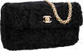 "Luxury Accessories:Bags, Chanel Black Persian Lamb Fur Medium Flap Bag with Gold Hardware .Very Good Condition . 10"" Width x 6.5"" Height x2.5..."