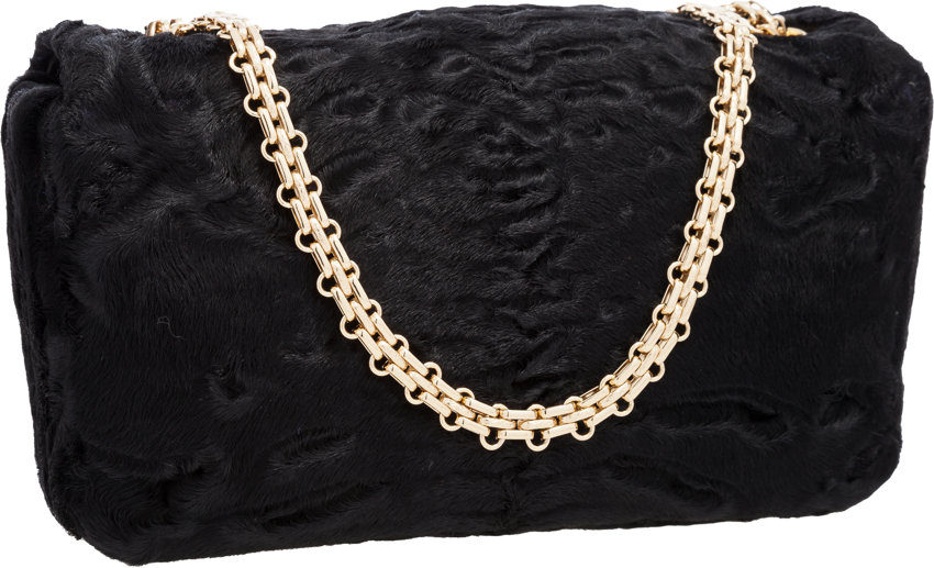 ec0d037b9dfe Chanel Black Persian Lamb Fur Medium Flap Bag with Gold Hardware | Lot  #58254 | Heritage Auctions