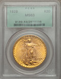 Saint-Gaudens Double Eagles: , 1928 $20 MS63 PCGS. PCGS Population (12982/25572). NGC Census:(15314/21428). Mintage: 8,816,000. Numismedia Wsl. Price for...