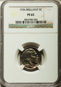 Proof Buffalo Nickels, 1936 5C Type Two -- Brilliant Finish PR65 NGC....