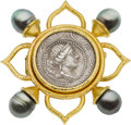 Estate Jewelry:Brooches - Pins, Elizabeth Locke Ancient Coin, South Sea Cultured Pearl, Gold Brooch. ...