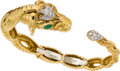 Estate Jewelry:Bracelets, David Webb Diamond, Emerald, Platinum, Gold Bracelet. ...