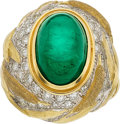 Estate Jewelry:Rings, Robert Whiteside Emerald, Diamond, Gold Ring. ...