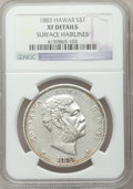 Coins of Hawaii: , 1883 $1 Hawaii Dollar -- Surface Hairlines -- NGC Details. XF. NGCCensus: (58/272). PCGS Population (151/430). Mintage: 50...