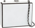 "Luxury Accessories:Accessories, Chanel White Lambskin Leather Box Clutch Bag with Black ChainStrap. Good Condition. 5"" Width x 4"" Height x 1.5""Depth..."