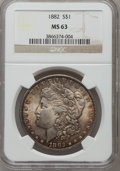 Morgan Dollars: , 1882 $1 MS63 NGC. NGC Census: (6585/7926). PCGS Population(6390/6678). Mintage: 11,101,100. Numismedia Wsl. Price for prob...