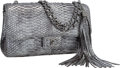 "Luxury Accessories:Bags, Chanel Metallic Silver Python Large Flap Bag with Tassel.Excellent Condition. 10.5"" Width x 5"" Height x 3""Depth. ..."