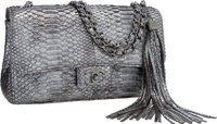 """Chanel Metallic Silver Python Large Flap Bag with Tassel Excellent Condition 10.5"""" Width x 5"""" Hei"""