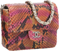 """Chanel Pink & Orange Python Micro Mini Flap Bag Excellent Condition 3.75"""" Width x 3.25"""" Height x"""