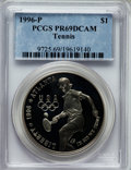 Modern Issues: , 1996-P $1 Olympic/Tennis Silver Dollar PR69 Deep Cameo PCGS. PCGSPopulation (1235/9). NGC Census: (1165/8). Numismedia Ws...
