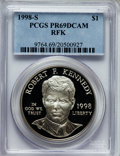 Modern Issues: , 1998-S $1 Robert F. Kennedy Silver Dollar PR69 Deep Cameo PCGS.PCGS Population (1231/50). NGC Census: (1344/65). Numismed...