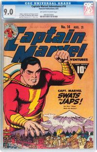 Captain Marvel Adventures #14 (Fawcett Publications, 1942) CGC VF/NM 9.0 Off-white to white pages