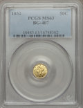 California Fractional Gold: , 1852 50C Liberty Round 50 Cents, BG-407, R.4, MS63 PCGS. PCGSPopulation (13/3). NGC Census: (3/1). ...